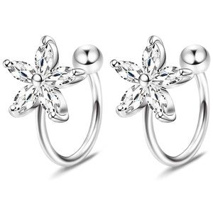 925 Sterling Silver Crystal Cuff Earrings